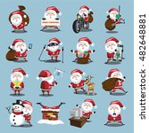 santa clauses set for christmas | Shutterstock .eps vector #482648881