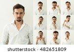 set of bearded man expressions... | Shutterstock . vector #482651809