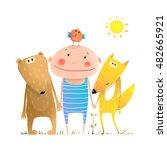 animals and child friends fox... | Shutterstock . vector #482665921