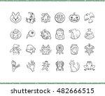 halloween cartoon icons set....