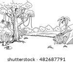 jungle forest graphic art black ... | Shutterstock .eps vector #482687791
