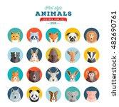 flat style animals avatar... | Shutterstock .eps vector #482690761