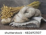 flax fibers from flax for the... | Shutterstock . vector #482692507