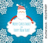 christmas background with santa ... | Shutterstock .eps vector #482698489
