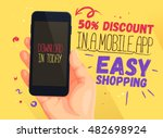 discount banner for mobile app. ... | Shutterstock .eps vector #482698924
