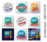 2017 set of happy new year flat ... | Shutterstock . vector #482715139