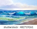 painting seascape  wave ... | Shutterstock . vector #482719261
