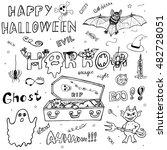 happy halloween. hand drawn... | Shutterstock .eps vector #482728051