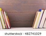 bookshelf with books on wooden... | Shutterstock . vector #482741029