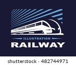 train logo illustration on dark ... | Shutterstock .eps vector #482744971