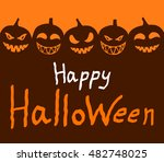 halloween sign with texture and ... | Shutterstock .eps vector #482748025