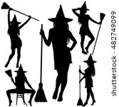 collection of halloween witches ... | Shutterstock .eps vector #482749099
