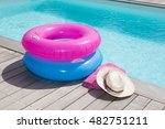 colorful towel and blue and... | Shutterstock . vector #482751211