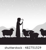 Silhouette Shepherd Sheep...
