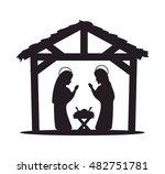 silhouette manger merry... | Shutterstock .eps vector #482751781