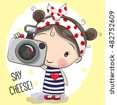 cute cartoon girl with a camera ... | Shutterstock .eps vector #482752609