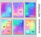 set of artistic colorful... | Shutterstock .eps vector #482753965