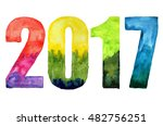 watercolor number 2017 isolated ... | Shutterstock . vector #482756251