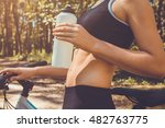 bicyclist having a rest and...   Shutterstock . vector #482763775