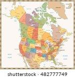 retro color political map of... | Shutterstock .eps vector #482777749