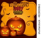 poster halloween party with... | Shutterstock .eps vector #482800861
