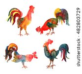 set of watercolor fire cocks on ... | Shutterstock . vector #482803729