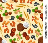 nuts and seeds seamless pattern ... | Shutterstock .eps vector #482803921