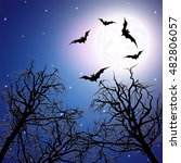 flock of bats above the trees... | Shutterstock .eps vector #482806057