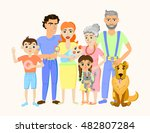 cartoon happy family portrait... | Shutterstock .eps vector #482807284