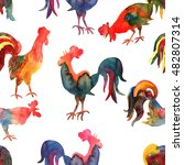 seamless pattern with fire cock ... | Shutterstock . vector #482807314