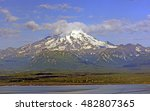 Small photo of Mt Redoubt on the Alaska Peninsula on a Sunny day