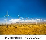 wind turbines outside palm... | Shutterstock . vector #482817229
