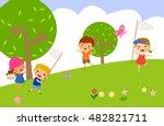 girl and boy catch butterflies... | Shutterstock .eps vector #482821711