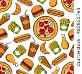 fast food seamless vector... | Shutterstock .eps vector #482822761