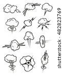 cloud icons in cartoon comic...