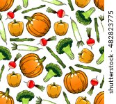 vegetables seamless background. ... | Shutterstock .eps vector #482823775