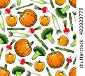 vegetables seamless background. ... | Shutterstock .eps vector #482823775