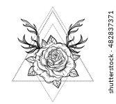 rose flower with deer antlers.... | Shutterstock .eps vector #482837371