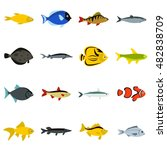 flat fish icons set. universal... | Shutterstock . vector #482838709
