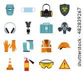 flat safety icons set.... | Shutterstock . vector #482839267