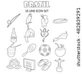 outline brazil icons set....