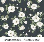 seamless white flower pattern...   Shutterstock .eps vector #482839459