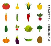 flat vegetables icons set....