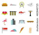 flat singapore icons set....