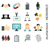 flat human resource icons set....
