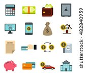 flat credit icons set....