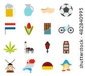 flat netherlands icons set....
