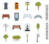 flat park icons set. universal...