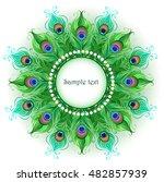 mandala and bright green ... | Shutterstock .eps vector #482857939