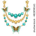 necklace of gold butterflies... | Shutterstock .eps vector #482858161